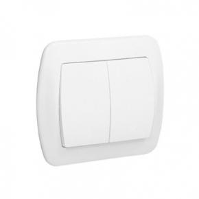 Biały włącznik schodowy podwójny z podświetleniem AW6/2L/11 Simon Akord Kontakt-Simon