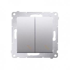 Włącznik schodowy podwójny z podświetleniem LED srebrny mat DW6/2L.01/43 Simon 54 Kontakt-Simon
