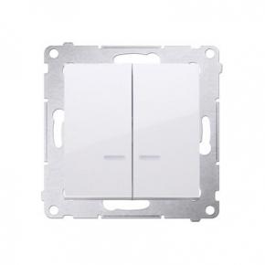 Biały włącznik świecznikowy z podświetleniem LED do wersji IP44 DW5BL.01/11 Simon 54 Kontakt-Simon