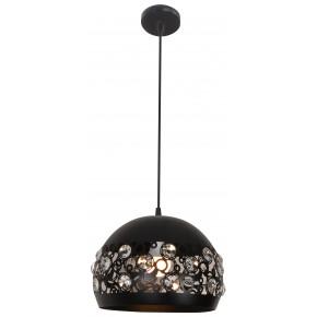 Lampy-sufitowe - lampa wisząca sufitowa z kryształkami czarny mat e27 jolina 31-69696 candellux