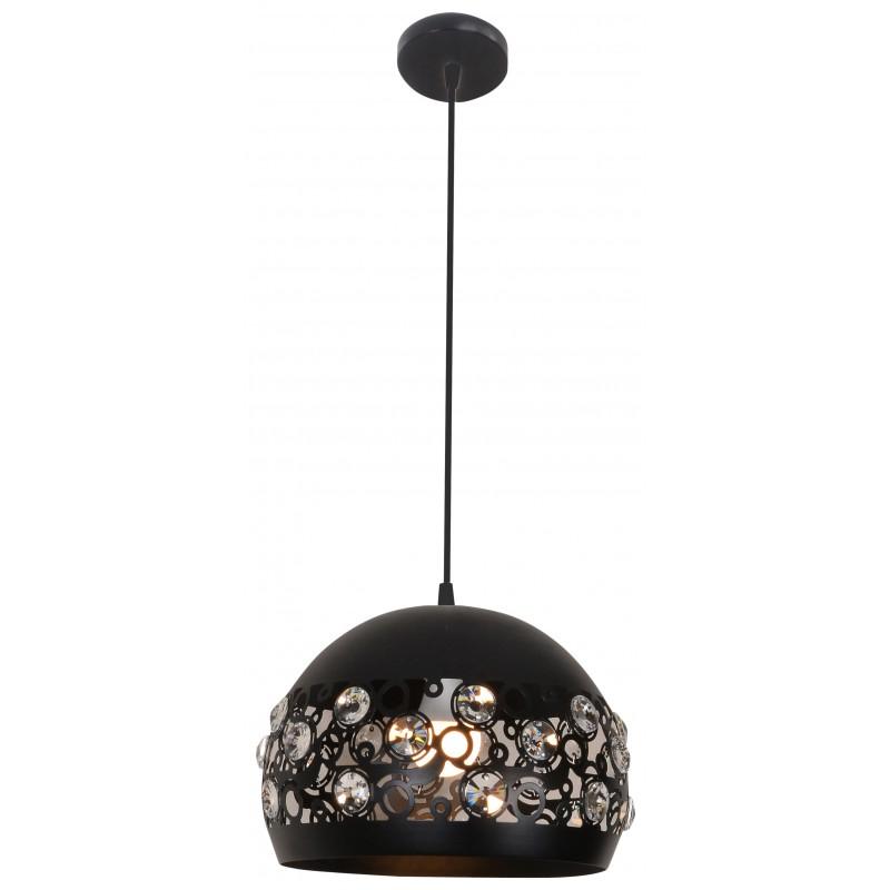 Lampy-sufitowe - lampa wisząca sufitowa z kryształkami czarny mat e27 jolina 31-69696 candellux firmy Candellux