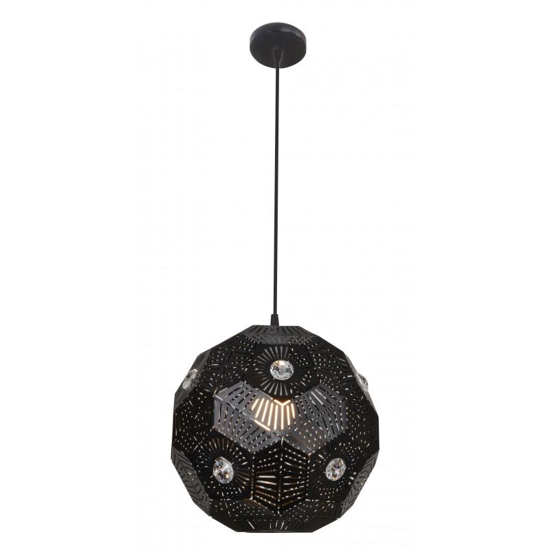 Lampy-sufitowe - lampa wisząca sufitowa czarna z ozdobnymi kryształkami e27 euphoria 31-69764 candellux firmy Candellux