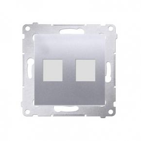 Pokrywa gniazd teleinformatycznych na Keystone płaska podwójna srebrny mat DKP2.01/43 Simon 54 Kontakt-Simon