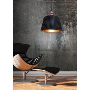 Lampy-sufitowe - lampa wisząca sufitowa z plisowanym kloszem czarna e27 60w amore 31-39378 candellux