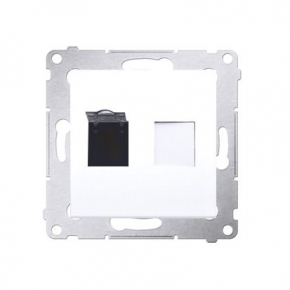 Białe gniazdo sieciowe pojedyncze RJ45 kategoria 6, z przesłoną przeciwkurzową D61.01/11 Simon 54 Kontakt-Simon