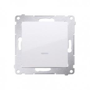 Biały przycisk pojedynczy zwierny bez piktogramu z podświetleniem LED DP1L.01/11 Simon 54 Kontakt-Simon