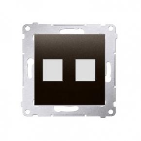 Pokrywa gniazd teleinformatycznych na Keystone płaska podwójna brąz mat DKP2.01/46 Simon 54 Kontakt-Simon
