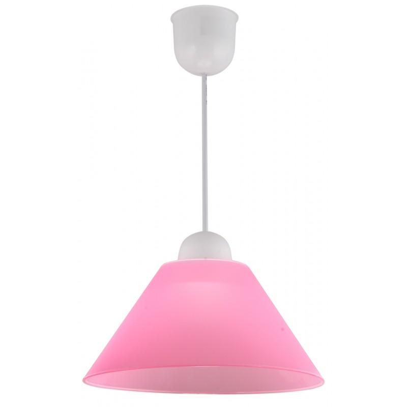 Lampy-sufitowe - klasyczna lampa wisząca biało-różowa e27 1x60w fama 31-20157 candellux firmy Candellux