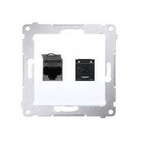 Białe gniazdo komputerowe podwójne RJ45 kategoria 6 z przesłoną przeciwkurzową D62.01/11 Simon 54 Kontakt-Simon