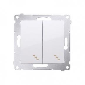 Biały włącznik schodowy podwójny z podświetleniem LED DW6/2L.01/11 Simon 54 Kontakt-Simon