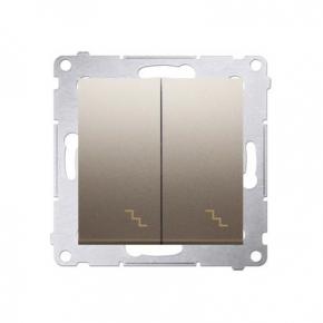 Włącznik schodowy podwójny z podświetleniem LED złoty mat DW6/2L.01/44 Simon 54 Kontakt-Simon