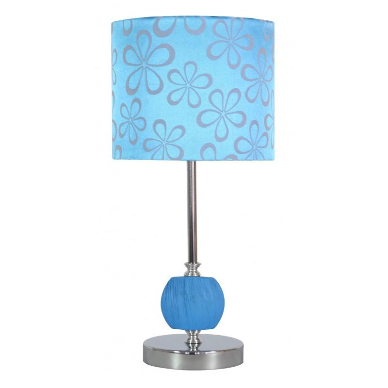 Lampki-nocne - lampka stołowa z niebieskim kloszem w kwiaty cort 41-34625 candellux firmy Candellux