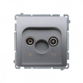 Gniazdo antenowe R-TV końcowe separowane srebrny mat BMZAR1/1.01/43 Simon Basic Kontakt-Simon
