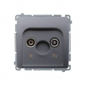 Gniazdo antenowe R-TV przelotowe inox BMZAP10/1.01/21 Simon Basic Kontakt-Simon
