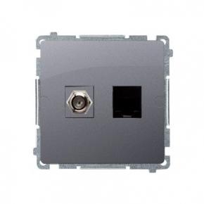 "Gniazdo antenowe typu ""F"" + komputerowe RJ45 kat.6 srebrny mat BMAFRJ45.01/43 Simon Basic Kontakt-Simon"