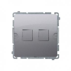 Pokrywa gniazd teleinformatycznych na Keystone płaska podwójna inox BMPT/21 Simon Basic Kontakt-Simon