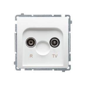 Białe gniazdo antenowe R-TV przelotowe BMZAP16/1.01/11 Simon Basic Kontakt-Simon