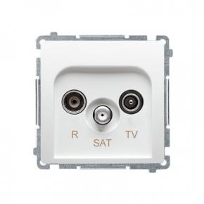 Białe gniazdo antenowe R-TV-SAT przelotowe BMZAR-SAT10/P.01/11 Simon Basic Kontakt-Simon