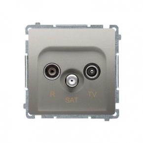 Satynowe gniazdo antenowe R-TV-SAT przelotowe BMZAR-SAT10/P.01/29 Simon Basic Kontakt-Simon