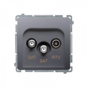 Gniazdo antenowe SAT-SAT-RTV satelitarne podwójne inox BMZAR+SAT3.1-P2.01/21 Simon Basic Kontakt-Simon