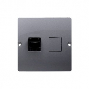 Gniazdo komputerowe pojedyncze RJ45 kategoria 5e srebrny mat BMF51.02/43 Simon Basic Kontakt-Simon
