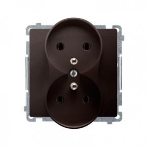 Gniazdo wtyczkowe podwójne z uziemieniem czekoladowy mat BMGZ2M.01/47 Simon Basic Kontakt-Simon