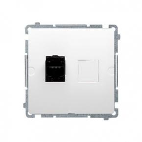 Białe gniazdo sieciowe pojedyncze RJ45 kategoria 6 z przesłoną przeciw-kurzową BM61.01/11 Simon Basic Kontakt-Simon