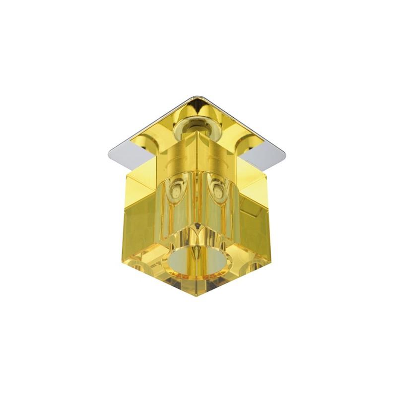 Oprawy-sufitowe-stale - sufitowa oprawka punktowa żółty kryształ g4 sk-18 2280083 candellux firmy Candellux
