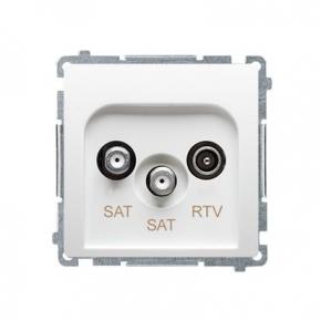 Białe gniazdo antenowe SAT-SAT-RTV satelitarne podwójne BMZAR+SAT3.1-P2.01/11 Simon Basic Kontakt-Simon
