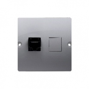 Gniazdo komputerowe pojedyncze RJ45 kategoria 5e inox BMF51.02/21 Simon Basic Kontakt-Simon