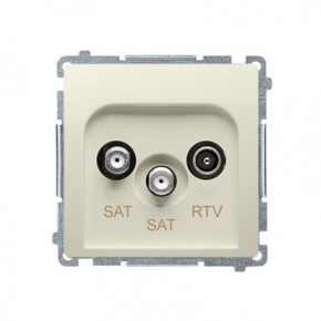Beżowe gniazdo antenowe SAT-SAT-RTV satelitarne podwójne BMZAR+SAT3.1-P2.01/12 Simon Basic Kontakt-Simon