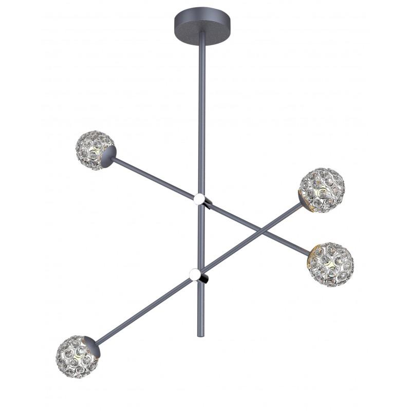 Lampy-sufitowe - wisząca lampa sufitowa z kryształkami szara 4xmax 5w g9 apeti a0032-340 candellux firmy Candellux