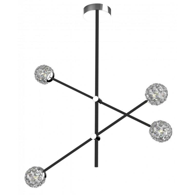 Lampy-sufitowe - czarna lampa sufitowa z kryształkami 4xmax 5w g9 apeti a0032-341 candellux firmy Candellux