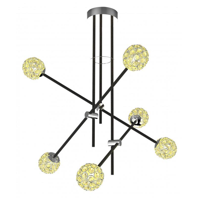 Lampy-sufitowe - ekskluzywna lampa wisząca ze złotymi kryształkami paksos 6xmax 5w g9 apeti a0032-360 candelluxza firmy Candellux