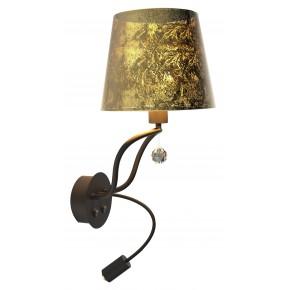 SARIA LAMPA KINKIET 1X6W E14 LED+8W LED CZARNO ZŁOTY APETI