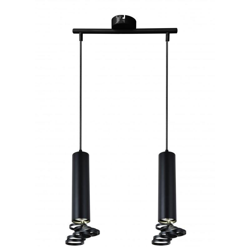 Lampy-sufitowe - czarna lampa wisząca sufitowa dwie tuby na żarowkę gu10 2x50w 32-78650 candellux firmy Candellux