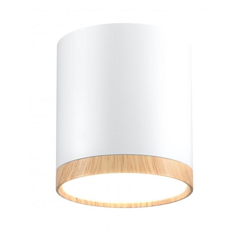 Oprawy-sufitowe - sufitowa oprawa tuba biała z drewnianym paskiem neutralne światło 4000k 5w 2273624 candellux firmy Candellux