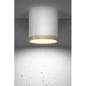 Oprawy-sufitowe - sufitowa oprawa tuba biała z drewnianym paskiem neutralne światło 4000k 5w 2273624 candellux