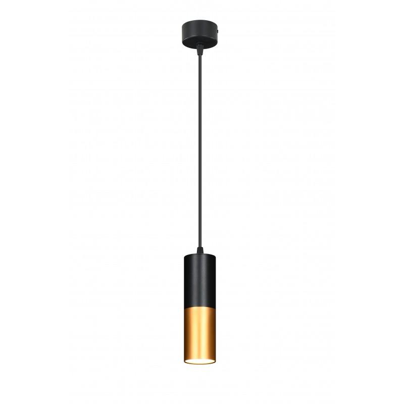 Lampy-sufitowe - wisząca lampa sufitowa w kolorze czarnym z dodatkiem złotego 15w gu10 31-77677 candellux firmy Candellux