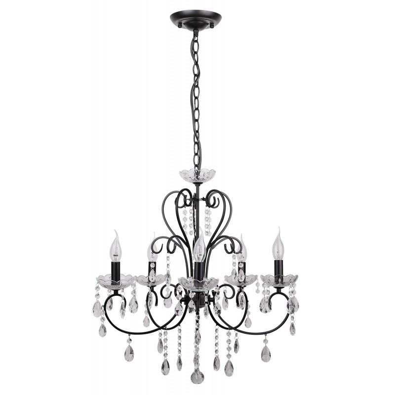 Lampy-sufitowe - czarny żyrandol z kryształkami 5x40w e14 aurora 35-73730 candellux firmy Candellux