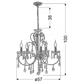 Lampy-sufitowe - czarny żyrandol z kryształkami 5x40w e14 aurora 35-73730 candellux