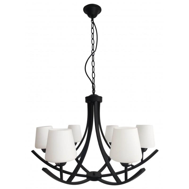 Lampy-sufitowe - czarno- biała lampa sufitowa żyrandol na 6 żarówek londyn 36-38845 candellux firmy Candellux