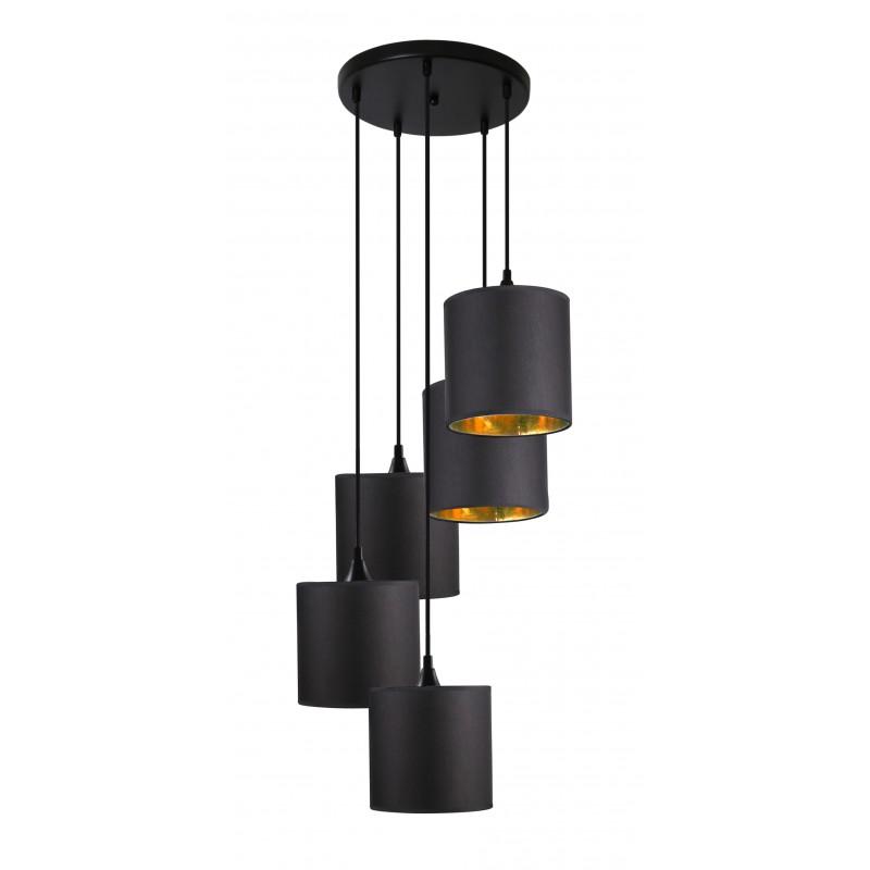 Lampy-sufitowe - czarne oświetlenie wiszące pięciopunktowe 5x40w e14 long 35-73976 candellux firmy Candellux