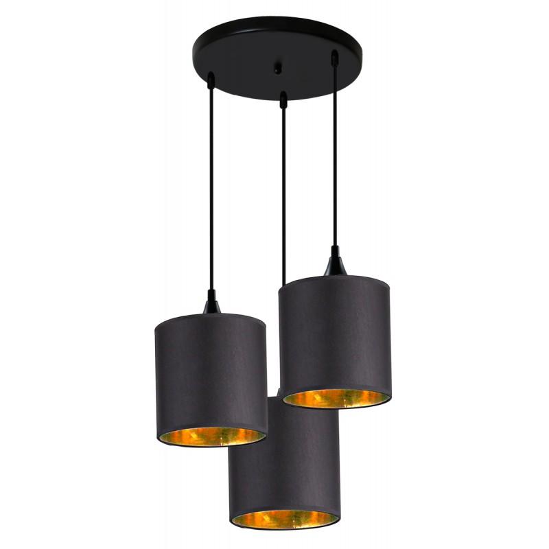 Lampy-sufitowe - lampa wisząca - talerz czarna + złoto wewnątrz kloszy 3x40w e14 long 33-73969 candellux firmy Candellux