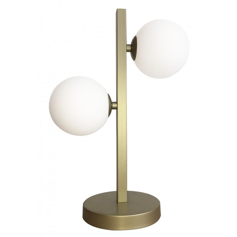 Lampki-biurkowe - lampka stołowa gabinetowa na dwie żarówki g9 28w mosiądz kama 42-73433 candellux firmy Candellux