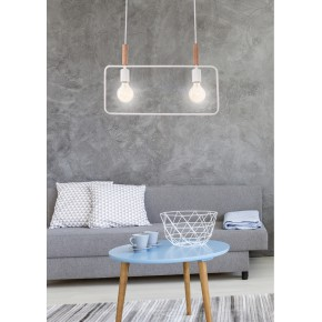 Lampy-sufitowe - wisząca lampa sufitowa biała podwójna e27 2x60w frame 32-73549 candellux