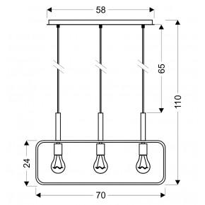 Lampy-sufitowe - potrójna lampa sufitowa wisząca czarna w loftowym stylu e27 3x60w frame 33-73525 candellux