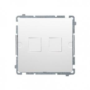 Biała pokrywa gniazd teleinformatycznych na Keystone płaska podwójna BMPT/11 Simon Basic Kontakt-Simon