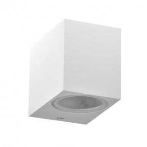 Kinkiety-ogrodowe - kinkiet elewacyjny kwadratowy skierowany w dół biały gu10 10w ip44 boston 313379 polux