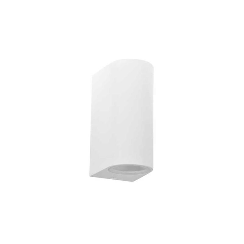 Kinkiety-ogrodowe - lampa ścienna kinkiet dwukierunkowy owalny biały 2xgu10 10w boston 313348 polux firmy POLUX